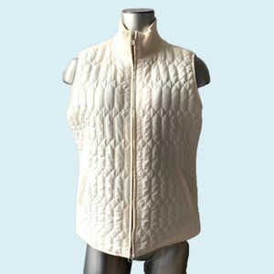 Talbots Petites White Quilted Down Zip Up Vest